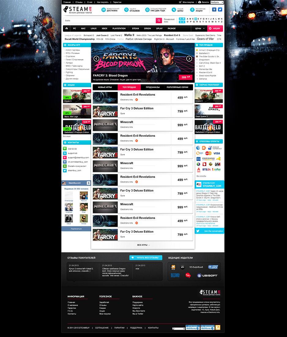 Разработка интернет-магазина Steambuy.com